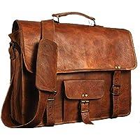 "JERRY 17"" Vintage Leather Messenger Soft Leather Briefcase Satchel Laptop Bag"