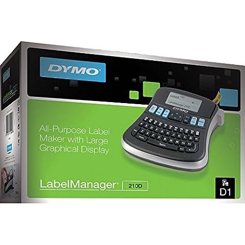DYMO LabelManager 210D - Impresora de etiquetas (D1, Térmica directa, 180 x 180 DPI, Negro, Plata, AZERTY, AA/LR6)