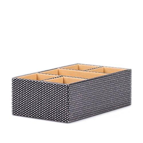 Nwn Desktop Aufbewahrungsbox Kreative Leder Haushalt Schreibwaren Kosmetische Finish Organizer (24 * 14,5 * 8 cm) (Farbe : SCHWARZ) (Leder-box-datei Schwarze)