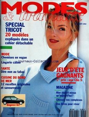 MODES ET TRAVAUX [No 1101] du 01/08/1992 - SPECIAL TRICOT - MODE - CHEMISES EN VOGUE - LINGERIE CALINE - SANTE - LE TABAC - CUISINE DU BORD DE MER