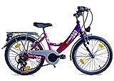 Mädchenfahrrad 20 Zoll Fahrrad Kinderfahrrad 6 Gang Shimano mit Beleuchtung Lila/Pink