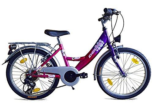fahrraeder maedchen Mädchenfahrrad 20 Zoll Fahrrad Kinderfahrrad 6 Gang Shimano mit Beleuchtung Lila/Pink