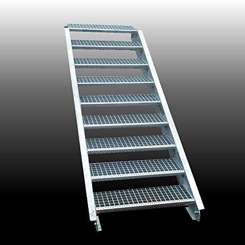 9-stufige Stahltreppe / Stufenbreite 80 cm / Geschosshöhe 135-180 cm / Inklusive Treppenwangen aus U-Profil + Gitterrost-Treppenstufen + Schrauben, Muttern / Wangentreppe Außentreppe Industrietreppe Stufen
