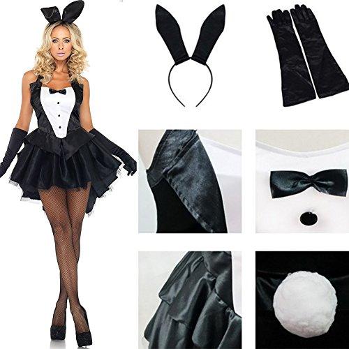 Yzki Damen Sexy Verspieltes Hasenkostüm, schwarz Neckholder Smoking Kleid Kaninchen Ohren Kopfschmuck Urlaub Party Cosplay Kostüm, Einheitsgröße, Einheitsgröße -