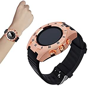 Mobile Link SW007 Bluetooth Smart Watch Phone (GOLDEN) with Touch Screen/ Camera/ G-Sensor/ Wechat/ Twitter/ Facebook/ Audio/Video Supported Compatible for Lava 3G 415