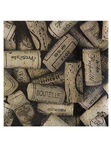 Serviette mit Weinkorken-Motiv, 20 Stück Hellbraun (Kraftpapier)