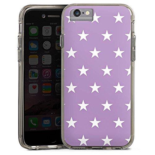 Apple iPhone 6s Bumper Hülle Bumper Case Glitzer Hülle Sterne Stars Polka Bumper Case transparent grau