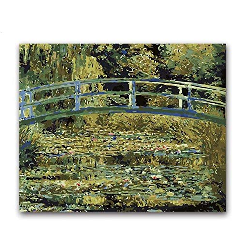 Puente Japonés Monet Lirios De Agua Fotos Pintando Por Números Paisaje Lienzo Dibujo Coloreando Por Números Con Paquete De Kits 50X60CM