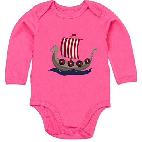 Shirtracer Bunt gemischt Baby - Wikinger-Schiff - 3-6 Monate - Fuchsia - BZ30 - Baby Body Langarm -