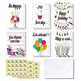 48 tarjetas de Feliz Cumpleaños Ohuhu. Tarjeta doblada ideal para cumpleaños de niños, tarjetas de felicitación interior en blanco/sobres y calcomanías con vela, pastel, globos, regalos