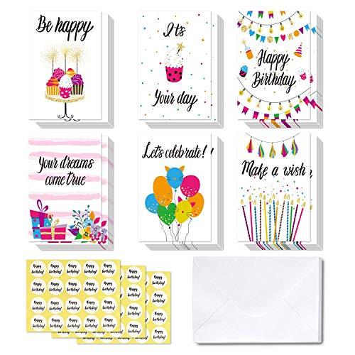 48 tarjetas de Feliz Cumpleaños Ohuhu. Tarjeta doblada ideal para ...