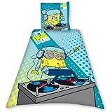 Bob l'Eponge DJ DBO - Juego de funda nórdica (algodón, funda nórdica de 140 x 200 cm y funda de almohada reversibles), diseño de Bob Esponja, color azul