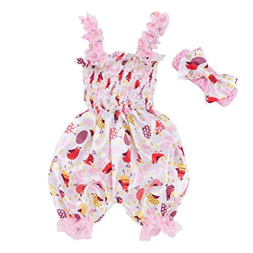 (Ostern Baby Zweiteiler Set,Kinder Kostüm Mädchen Kleidung Kleinkind Cartoon Animal Print Laterne Sling Overall+Haargurt Strampler Bodysuit Stirnband Set Outfit Ostergeschenk(Weiß,73))