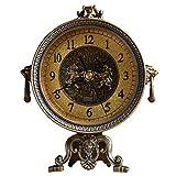 NNIU Metall-Tischuhr, Stille tickende Dekoration Kaminuhr Wohnzimmer Nachttisch Uhr