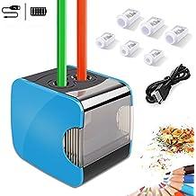 Oladwolf Elektrischer Anspitzer, Automatischer Bleistiftanspitzer mit Zwei Löchern, Pencil Sharpener Batterie und USB Zwei Mode mit 6 Klingen, Anti-Rutsch Auto Stop, Perfekt für Kinder Büro und Home