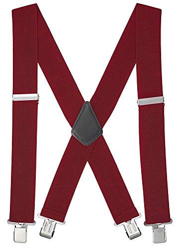 Buyless Fashion verstellbare und elastische Herren X-Hosenträger 1,2 Meter - 5 cm breit - Metallclips - 5116 Farbe: Burgundy