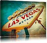 Las Vegas Retro Look Format: 60x40 auf Leinwand, XXL riesige Bilder fertig gerahmt mit Keilrahmen, Kunstdruck auf Wandbild mit Rahmen, günstiger als Gemälde oder Ölbild, kein Poster oder Plakat