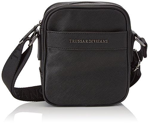 Trussardi Jeans 71b00028-1y000058, Borsa Messenger Uomo, Nero, 16x18x6 cm (W x H x L)