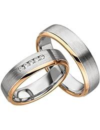 Verlobungsringe Eheringe Trauringe Partnerringe 2 Ringe Gold Plattiert JC003 *mit Gravur und Stein*