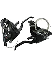 Fastped ® 2Pcs/Pair MTB Bicycle Break Gear Shifter Brake 3 X 7 21 Speed Mountain Road Bike Cycling Disc Brakes Levers with Shift Cable Riding