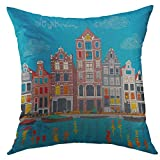 Mugod Decorative Throw Pillow Cover for Couch Sofa,Colorful Architecture City View of Amsterdam Canal Typical Dutch Houses Boats Holland Netherlands Home Decor Pillow Case 18x18 Inch