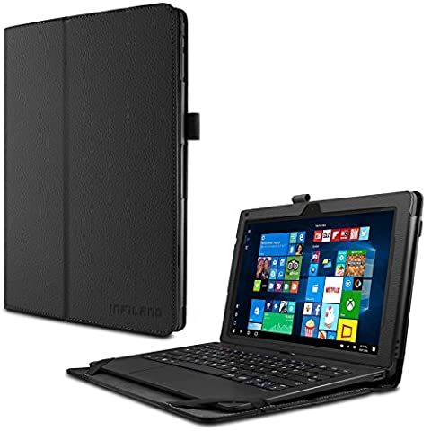 TrekStor SurfTab twin 11.6 Hülle Case -Infiland Slim Fit Folio PU-lederne dünne Kunstleder Schutzhülle Cover Tasche für TrekStor SurfTab twin 11.6 Volks-Tablet, 29,5 cm (11.6 Zoll 2in1 Tablet-PC) (mit Auto Schlaf / Wach Funktion,Tablet und Tastatur sind nicht entgehaltet) (Schwarz)