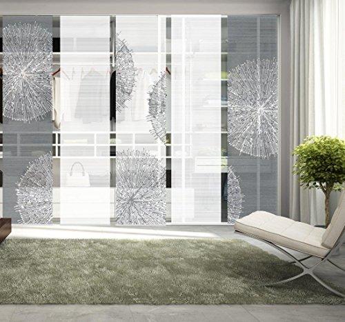 Vision S 95757-0307 | 5er-Set Schiebegardine CROSTON | halb-transparenter Stoff in Bambus-Optik | 5X 260x60 cm | Farben: Grau + Stein