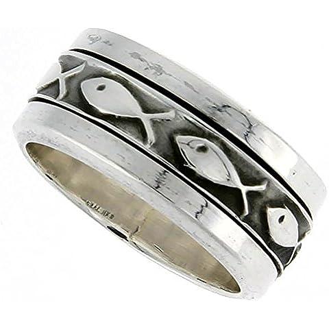 Girandola in argento Sterling, da uomo, con motivo a pesce Ichthus Christian-Anello fatto a mano