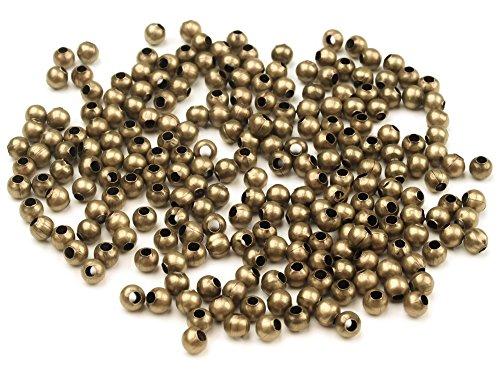 10g Metallperlen 3mm, rund, antikmessing (ca. 150 Perlen)
