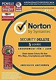 Norton Security Deluxe Antivirus Software 2018 / Zuverlässiger Virenschutz (Jahres-Abonnement) für bis zu 5 Geräte inkl - Norton Utilities / Download für Windows, Mac, Android & iOS - Symantec