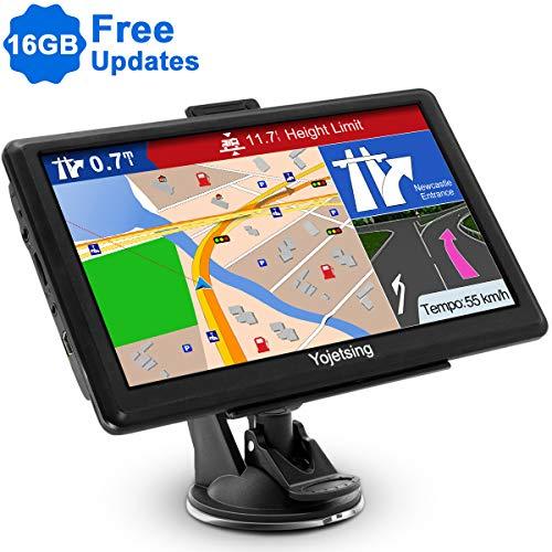 Yojetsing GPS Navi Navigation für Auto LKW PKW KFZ Navigationsgerät 7 Zoll 16GB Lebenslang Kostenloses Kartenupdate POI Blitzerwarnung Sprachführung Fahrspurassistent 2019 Europa UK 52 Karten