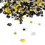 Oblique-Unique 40. Geburtstag Jubiläum Konfetti Gold Silber Schwarz Sterne Tisch Deko 500 Stück