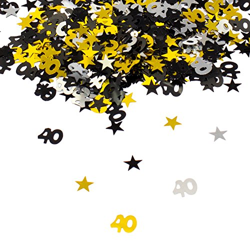 Oblique Unique® 40. Geburtstag Jubiläum Konfetti Gold Silber Schwarz Sterne Tisch Deko 500 Stück (Sterne Gold-konfetti)