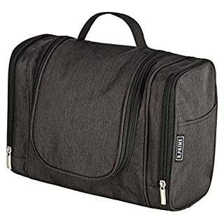 B.PRIME Classic Toiletry Bag (Black). Large Capacity, Water-Resistant, Hanging wash Bag. Dimensions 28 x 13 x 22cm. Available in Four Colours.