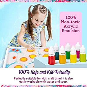 Qomomont Marbling Painting Kit - DIY Painting on Water Creative Art Set of 6 Colors - Drawing Liquid Sketch Paper Painting Needle & Basin Education Toy Set for Kid Child Toddler