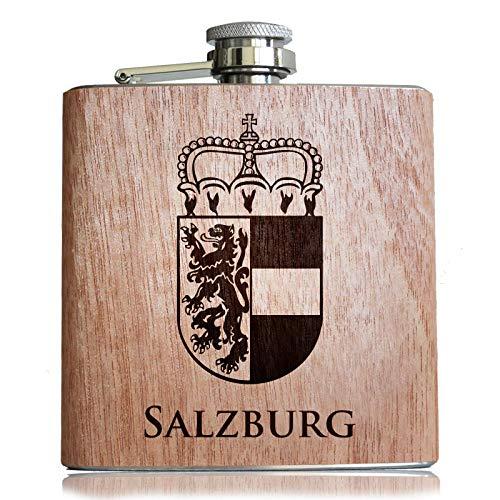 Pixelstudio Salzburg Holz Flachmann mit hochwertiger Gravur und Wappen | Geschenk für Salzburger Patrioten