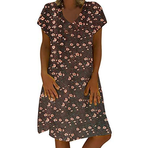 f5a48934f0d196 Lulupi Geblümtes Kleid Damen,Leinenkleider Damen Große Größen,Boho Retro  Minikleid V-Ausschnitt Kurzarm Sommerkleider