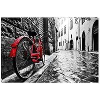 Startonight Cuadro sobre Lienzo en Blanco y Negro Bicicleta Roja, Impresion en Calidad Fotografica Enmarcado y Listo Para Colgar Diseño Moderno Decoración Formato Grande 60 x 90 CM