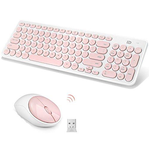 Tastiera e Mouse Wireless, SUAVER Full-size Tranquilla slim Set tastiera e Mouse senza fili 2.4G,DPI 1600 Ottico Mouse/12 tasti di intrattenimento multimediale (Rosa)