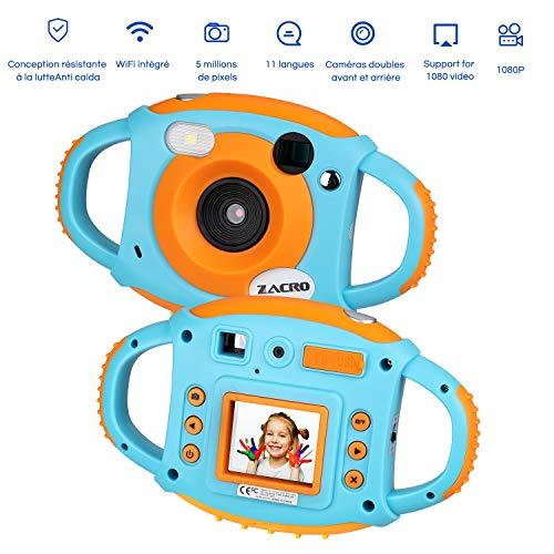 Zacro Kids Caméra Enfants Caméra Appareil Photo Numérique pour Enfant WiFi intégré/5MP/11 Langues/Caméras Doubles Avant et Arrière Etc