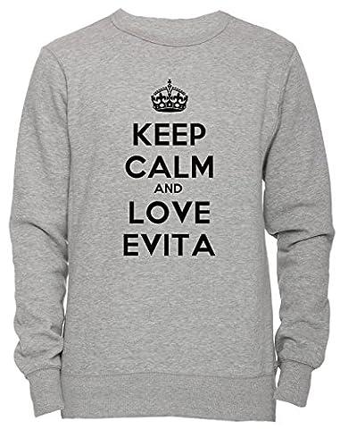 Keep Calm And Love Evita Unisex Herren Damen Jumper Sweatshirt Pullover Grau Größe L Men's Women's Grey Large Size L