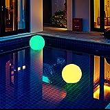Cutowin - Lámpara de Bola LED de energía Solar con luz RGB Recargable para Piscina, jardín, etc.