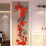 Removable Wall Stickers Decal DIY Rose Flower Crystal Arcylic 3D Wall Stickers For Living Room Kids Room Home Decoration