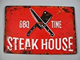 Nostalgie Blechschild, Steak House, BBQ Time, Kneipen Schild, 20x30