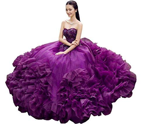 ... Beauty-Emily Riemen Ohne Arme Schatz-Rüschen Applikationen  Kugelhochzeitskleid Violett ...