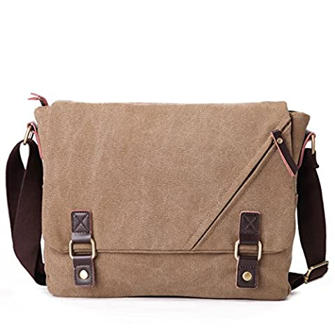 Eshow Herren Canvas Freizeit Täglich Umhängetasche Schultertasche Taschen Retro Messenger Bag 14 Zoll Laptop Geeign,