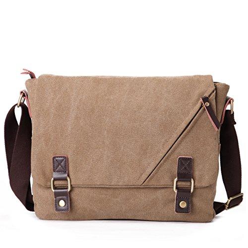 Eshow Herren Canvas Freizeit Täglich Umhängetasche Schultertasche Taschen Retro Messenger Bag 14 Zoll Laptop Geeign, Khaki