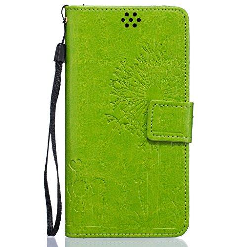 Idatog™ - Custodia a libro per iPhone 5/5S/SE, con protezione per lo schermo in vetro temperato, chiusura magnetica, alta qualità, stile classico ed elegante, con motivo dente di leone, in similpelle, Green