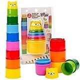9 Teile Gebäude Becher nisten Becher Stapel Blöcke Kleinkind Baby Bade Spielzeug Teddybär