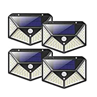 Solar Light Outdoor Solar Powered Motion Sensor Lights 100 LEDs Waterproof Outdoor Wall Night With 3 Modes & 270° Wide Angle for Garden Patio Yard Deck Garage (4Pack)